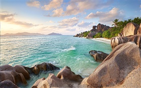 Seychelles Island, stones, sea, coast, beach, sunset HD wallpaper