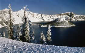Snow, volcanic lake, trees HD wallpaper