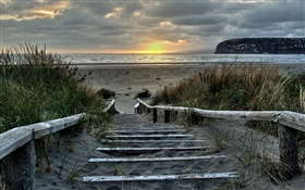 Sunrise, stairs, coast, Southshore, Christchurch, New Zealand HD wallpaper