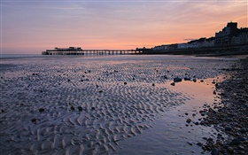 Sunset, pier, beach, dusk, Hastings, England