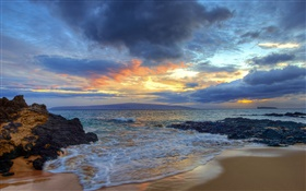 Sunset, sea, coast, Secret Beach, Maui, Hawaii, USA HD wallpaper