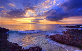 Sunset, waves, Secret Beach, Maui, Hawaii, USA HD wallpaper