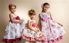 Three beautiful cute little girls HD wallpaper