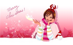 Vector girl, snowman HD wallpaper