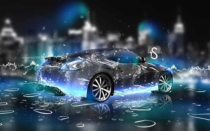 Water splash car, Nissan rear view, creative design Wallpapers Pictures Photos Images