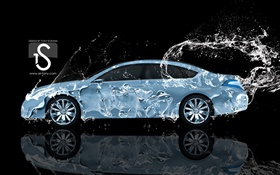 Water splash car, Nissan, side view, creative design HD wallpaper