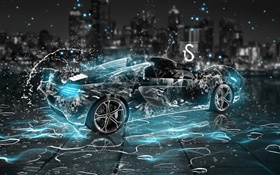 Water splash car, black supercar, night, creative design HD wallpaper