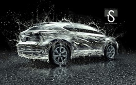 Water splash car, creative design, Lexus HD wallpaper