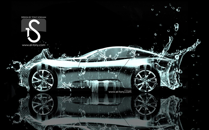Water splash car, creative design, side view Wallpapers Pictures Photos Images