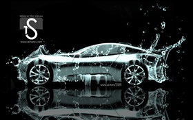 Water splash car, creative design, side view HD wallpaper