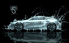 Water splash car, creative design, supercar side view HD wallpaper