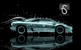 Water splash car, drops, creative design HD wallpaper