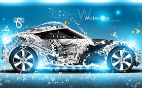 Water splash car, fish, creative design HD wallpaper