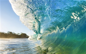Wave breaking shore, Maui, Hawaii HD wallpaper
