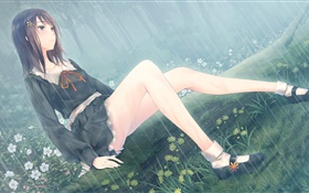 Anime girl, flowers, rain HD wallpaper