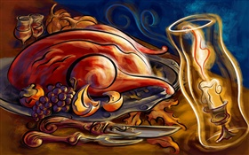 Art paintings, thanksgiving, roast chicken, candles, grapes, knives HD wallpaper