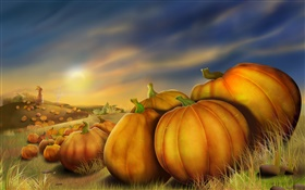 Artistic picture, painting, pumpkin HD wallpaper