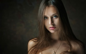 Beautiful long hair girl, portrait, lips HD wallpaper