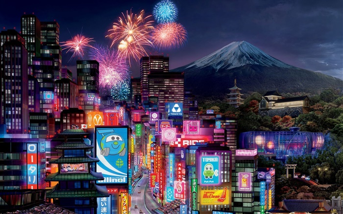 Cars 2, Tokyo city night Wallpapers Pictures Photos Images
