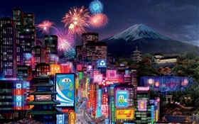 Cars 2, Tokyo city night HD wallpaper