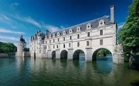 Chenonceau Castle, France, river, summer HD wallpaper