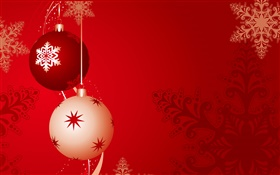 Christmas balls, red background HD wallpaper