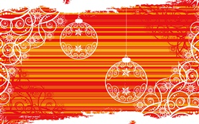 Christmas balls, white lines, red background, creative design HD wallpaper