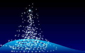 Christmas design, abstract tree, stars, blue background HD wallpaper