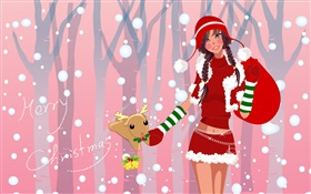 Christmas girl, vector illustration HD wallpaper