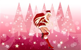 Christmas girl, vector pictures HD wallpaper