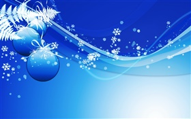 Christmas theme pictures, balls, blue style HD wallpaper