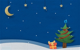 Christmas theme pictures, creative design, tree, gifts, stars, moon HD wallpaper