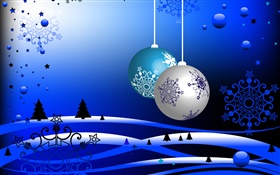 Christmas theme, vector pictures, balls, trees, snow, blue style HD wallpaper