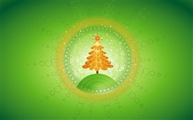 Christmas tree, circles, creative pictures, green background HD wallpaper