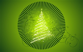 Christmas tree, light, creative design, green background HD wallpaper