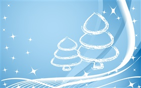 Christmas trees, simple style, stars, light blue HD wallpaper