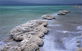 Dead sea, dusk, salt HD wallpaper