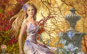 Fantasy girl, park, trees HD wallpaper