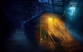Forest, night, full moon, wooden house, lights HD wallpaper