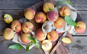 Fresh fruit, peaches, knife HD wallpaper