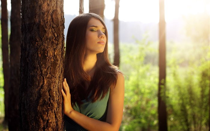 Girl in forest, feeling sun Wallpapers Pictures Photos Images