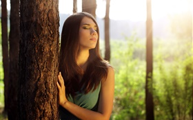 Girl in forest, feeling sun HD wallpaper