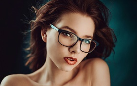 Girl portrait, glasses, makeup HD wallpaper