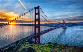 Golden Gate Bridge, San Francisco, California, USA, sea, sky, sunset HD wallpaper
