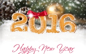 Happy New Year 2016, cookies, white snow HD wallpaper