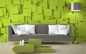 Living room, sofa, green walls, lamp HD wallpaper