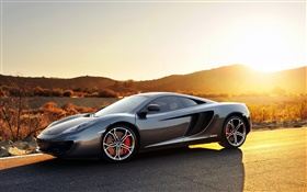 Mclaren MP4-12C sports car, sunset, road HD wallpaper