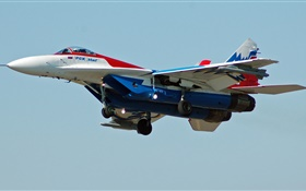 MiG-29 fighter flight in sky HD wallpaper