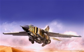 MiG fighter, flying, desert, clouds HD wallpaper