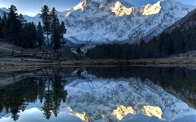 Mountains, lake, trees, water reflection, snow HD wallpaper